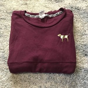 VS PINK maroon and gold long sleeve